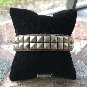 Rocker Brown studded leather cuff bracelet